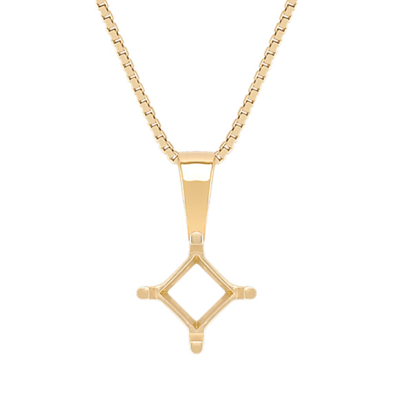 Solitaire Pendant for Princess Cut Gemstone (18 in)
