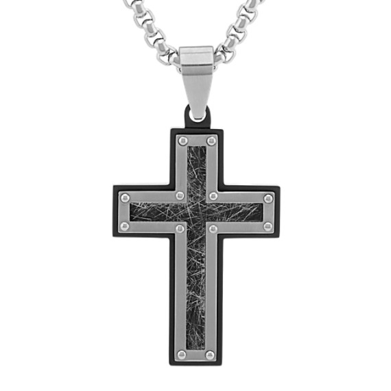 Stainless Steel Cross Necklace with Black Ionic Plating (24 in)