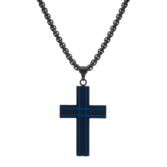 Stainless Steel Cross Necklace with Black and Blue Ionic Plating (24 in)