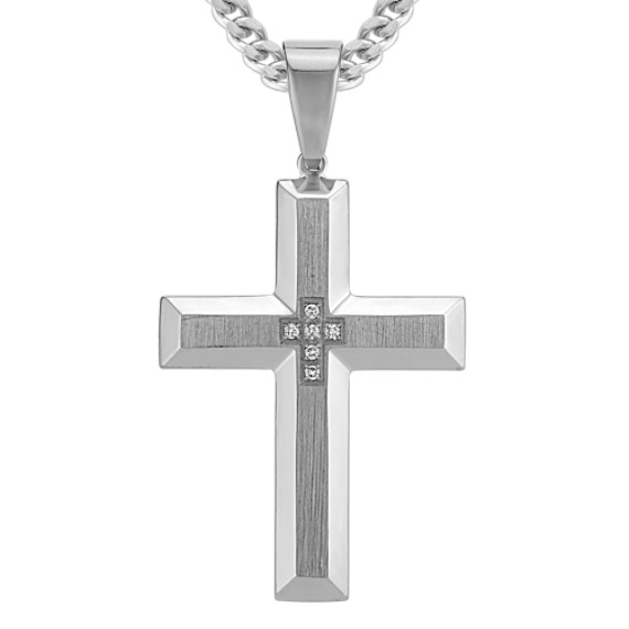 Stainless Steel Cross Necklace with Round Diamond Accent (24 in)