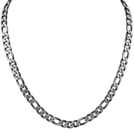 24 inch Mens Stainless Steel Figaro Chain with Black Ionic Plating