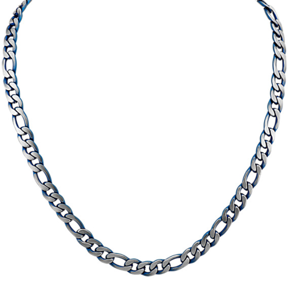 24 inch Mens Stainless Steel Figaro Chain with Blue Ionic Plating