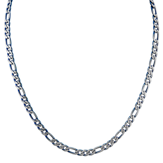 Stainless Steel Figaro Necklace with Blue Ionic Plating (24 in)