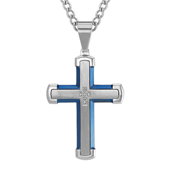 Stainless Steel Mens Cross Necklace with Diamonds (24 in)