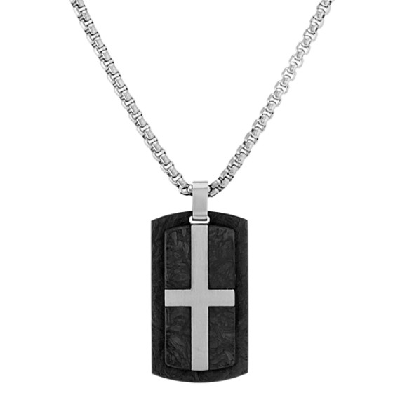Stainless Steel and Carbon Fiber Dog Tag Necklace (24 in)