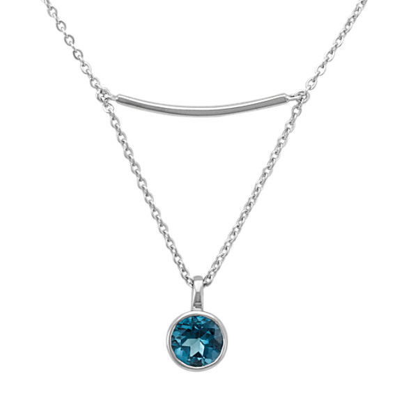 Sterling Silver Bar Necklace with Drop Accent of London Blue Topaz (16 in)