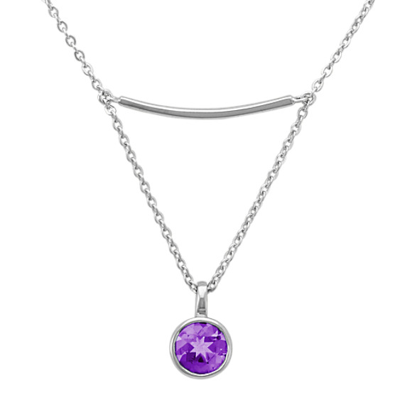 Sterling Silver Bar Necklace with Drop Accent of Round Amethyst (16 in)