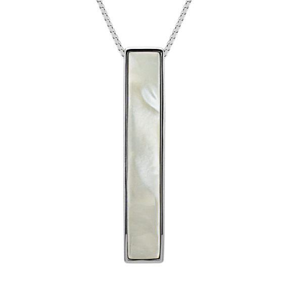 Sterling Silver Bar Pendant with Mother of Pearl Inlay (20 in)