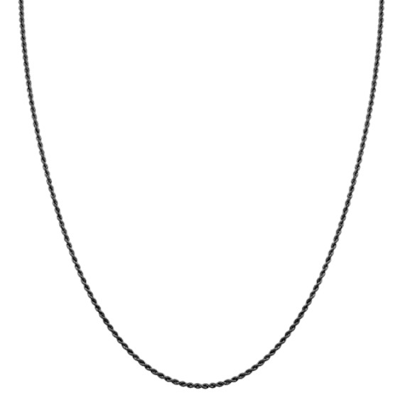 Sterling Silver Black Rhodium Rope Necklace (30 in)