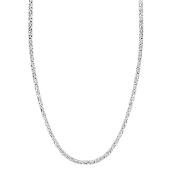 24 inch Mens Sterling Silver Byzantine Chain