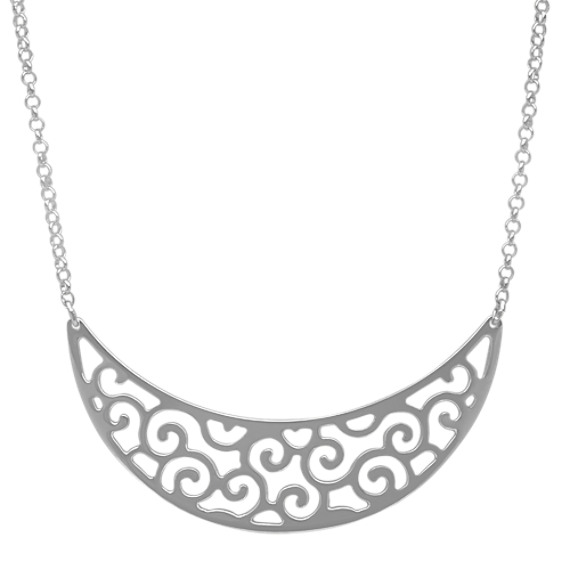Sterling silver crescent moon swirl necklace 18 in shane co sterling silver crescent moon swirl necklace 18 in aloadofball Gallery