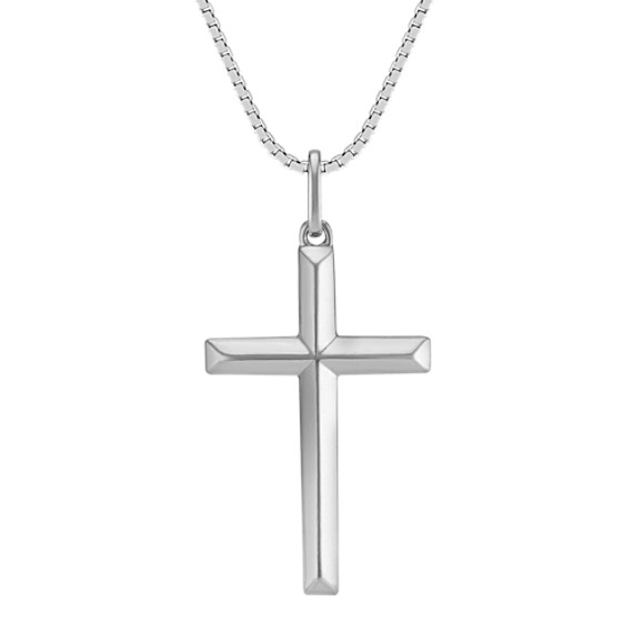 20 Inch Mens Sterling Silver Cross Necklace Shane Co
