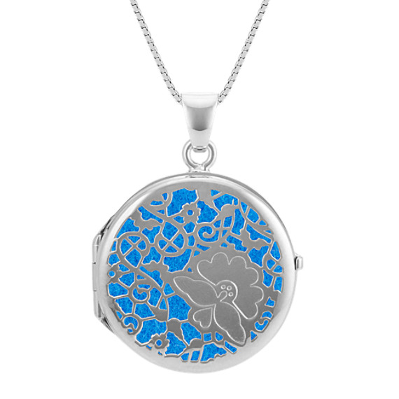 Sterling Silver Cutout Circle Locket with Felt Inlays (20 in)