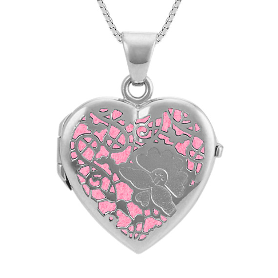 Sterling Silver Cutout Heart Locket with Felt Inlays (20 in)
