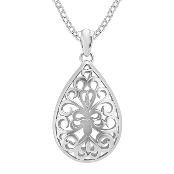 Sterling Silver Cutout Teardrop Pendant (18 in)