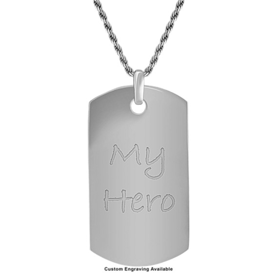 24 inch Mens Sterling Silver Dog Tag Necklace