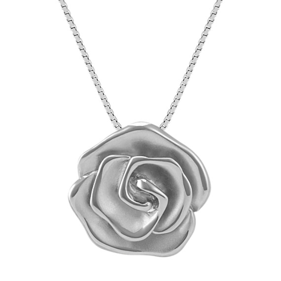 Sterling Silver Rose Pendant (20 in)