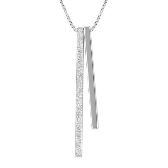 Sterling Silver Vertical Bars Pendant (18 in)