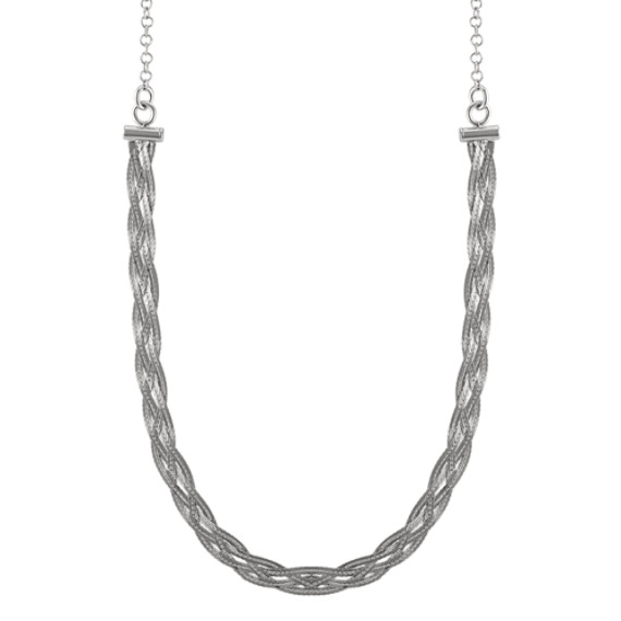 Sterling Silver Woven Choker Necklace (16 in)