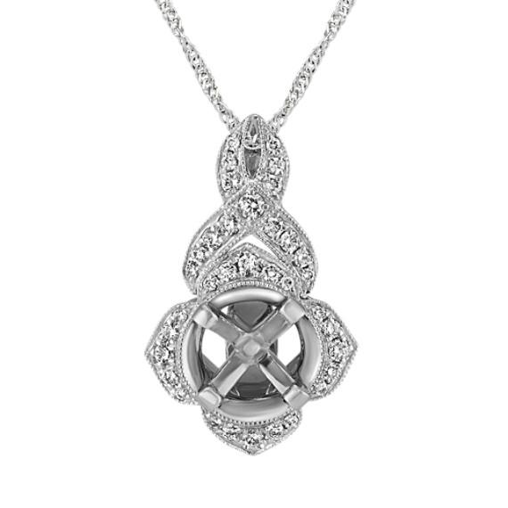 Swirl Diamond Pendant for Round Gemstone in 14k White Gold (18 in)