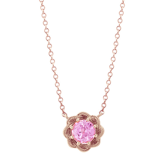 Swirl Pink Sapphire Necklace in 14k Rose Gold (18 in)