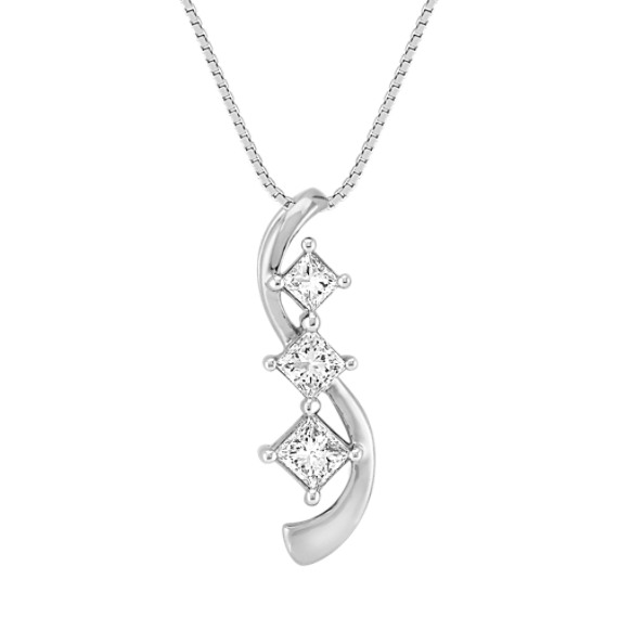 Swirl Princess Cut Diamond Three-Stone Pendant (18 in)