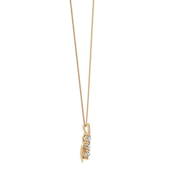Swirling Three-Stone Diamond Pendant in 14k Yellow Gold (18 in) image