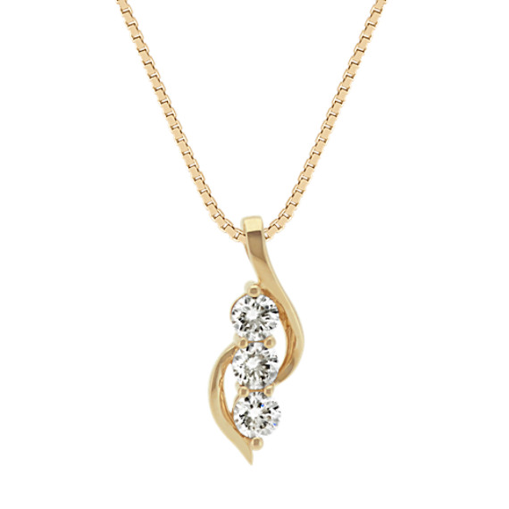 Swirling Three-Stone Diamond Pendant in 14k Yellow Gold (18 in)