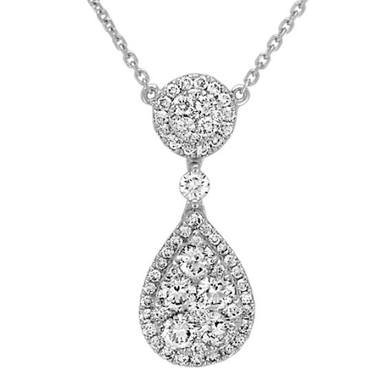 Teardrop Diamond Cluster Necklace (18 in)