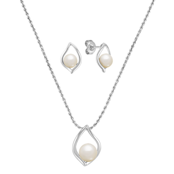 Teardrop Freshwater Pearl Pendant And Earring Set In Sterling Silver 20