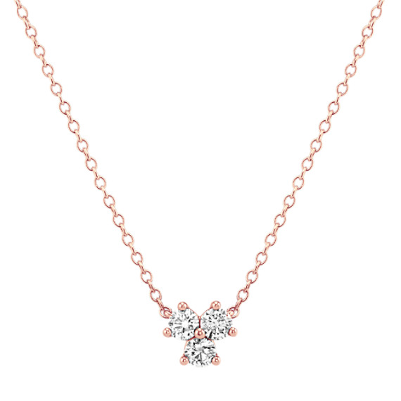 Three-Stone Diamond Necklace in 14k Rose Gold (18 in)