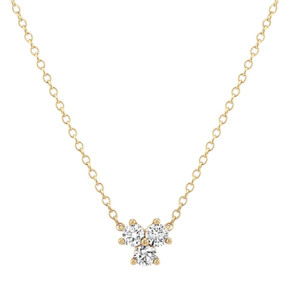 Three-Stone Diamond Necklace in 14k Yellow Gold (18 in)