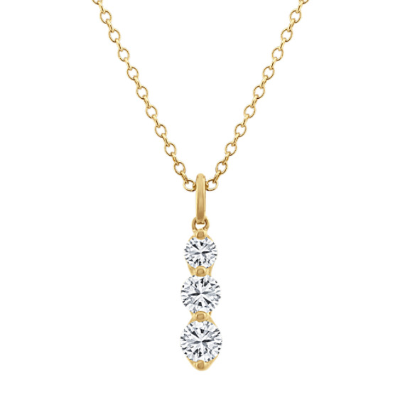 Three-Stone Diamond Pendant in 14k Yellow Gold (18 in)