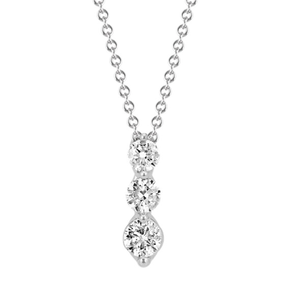 Three-Stone Diamond Pendant in White Gold (22 in)