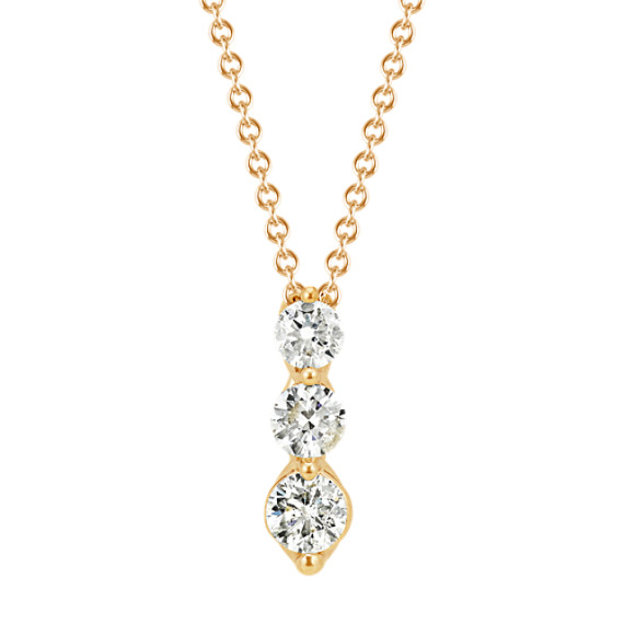 Three-Stone Diamond Pendant in Yellow Gold (22 in)