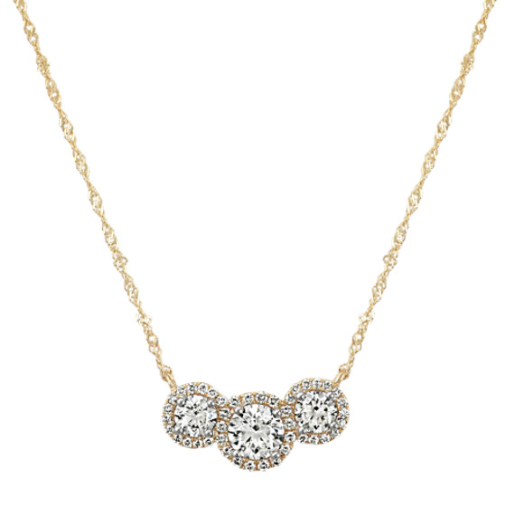 Three-Stone Round Diamond Necklace 14k Yellow Gold (18 in)