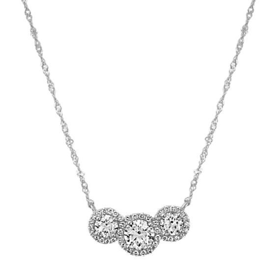 Three-Stone Round Diamond Necklace in 14k White Gold (18 in)