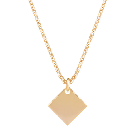 Tilted Square Pendant in 14k Yellow Gold (18 in)