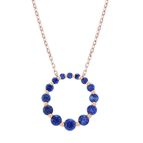 Traditional Blue Sapphire Circle Necklace (18 in)