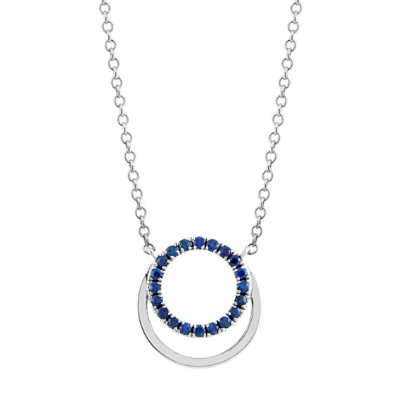 Traditional Blue Sapphire Circle Pendant (18 in)