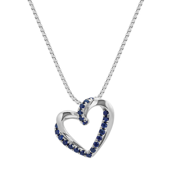 Traditional Blue Sapphire Heart Pendant (20 in)