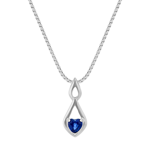 Traditional Blue Sapphire Pendant (22 in)