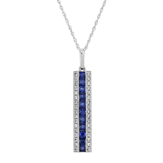 Traditional Blue Sapphire and Diamond Bar Pendant (18 in)