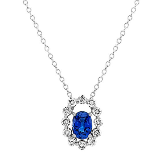 Traditional Blue Sapphire and Diamond Halo Pendant (24 in)