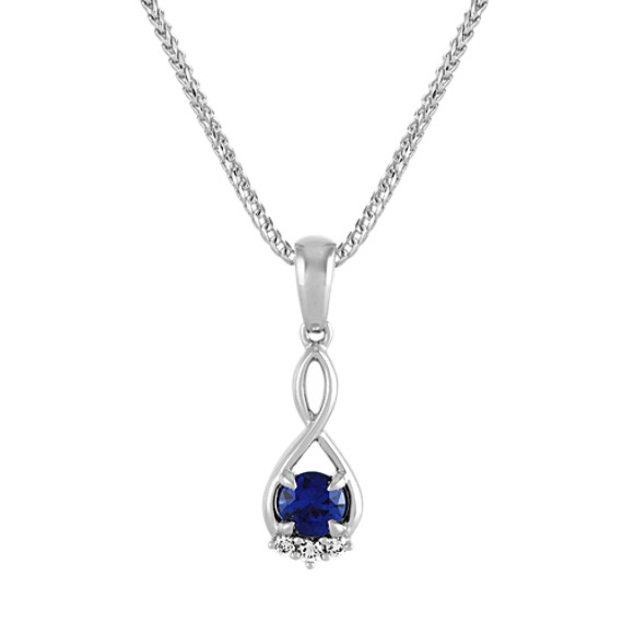 Traditional Blue Sapphire and Diamond Infinity Pendant (20 in)
