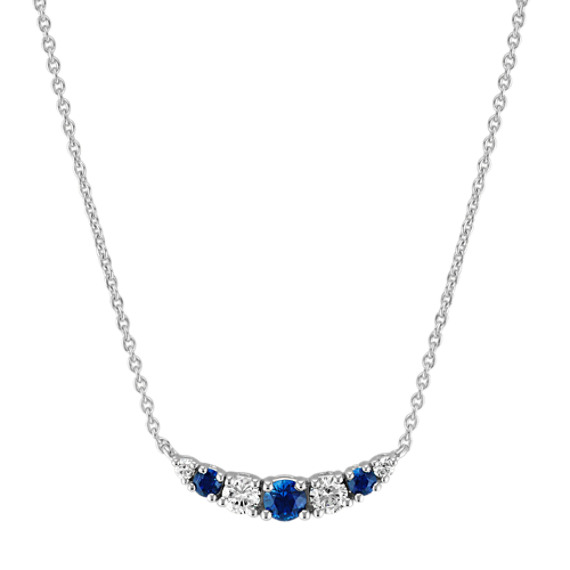 Traditional Blue Sapphire and Diamond Necklace (16 in)
