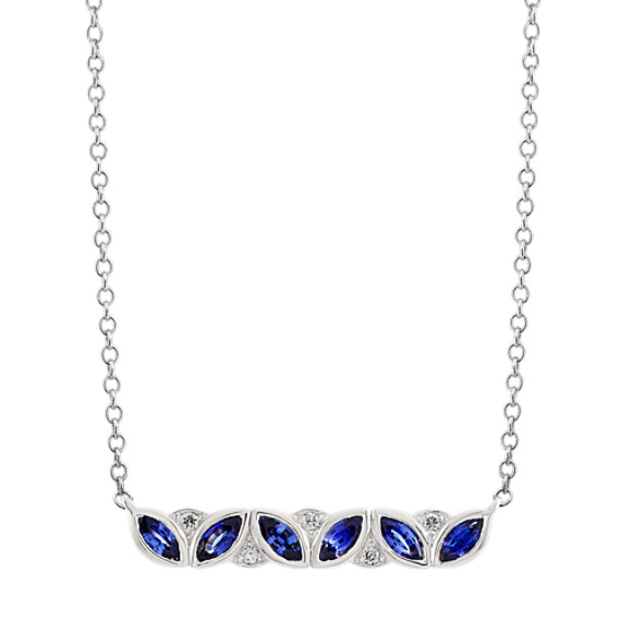 Traditional Blue Sapphire and Diamond Bar Necklace (18 in)