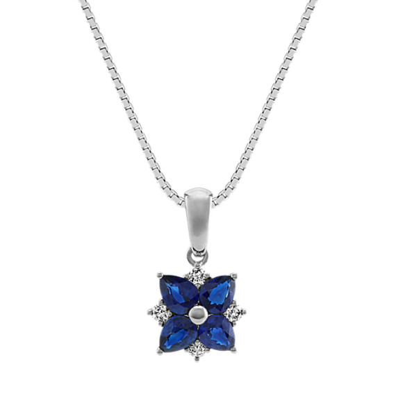 Traditional Blue Sapphire and Diamond Pendant (20 in)
