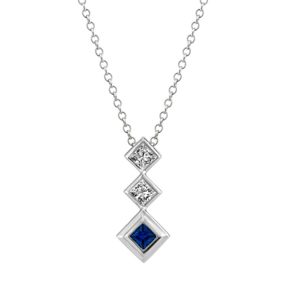 Traditional Blue Sapphire and Diamond Pendant (22 in)