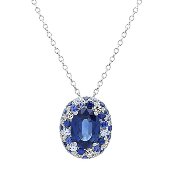 Traditional Blue Sapphire and Diamond Pendant (24 in)